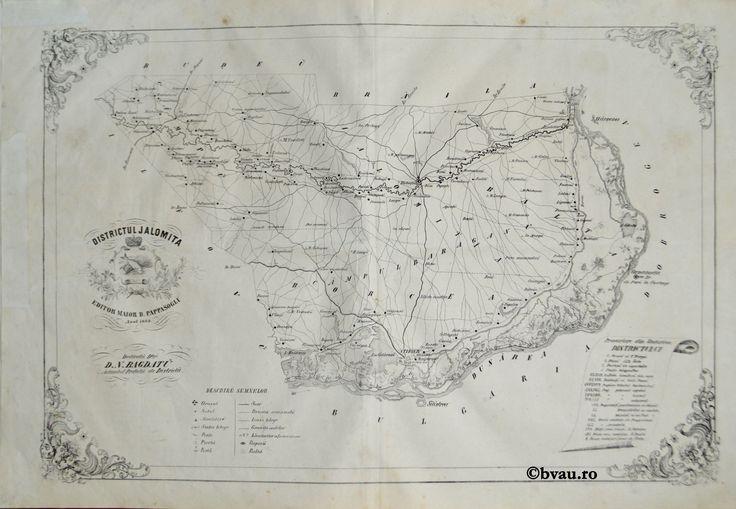 """Districtul Ialomita, întocmit şi editat de Maior D. Pappasoglu, 1864. Imagine din colecțiile Bibliotecii """"V.A. Urechia"""" Galați."""