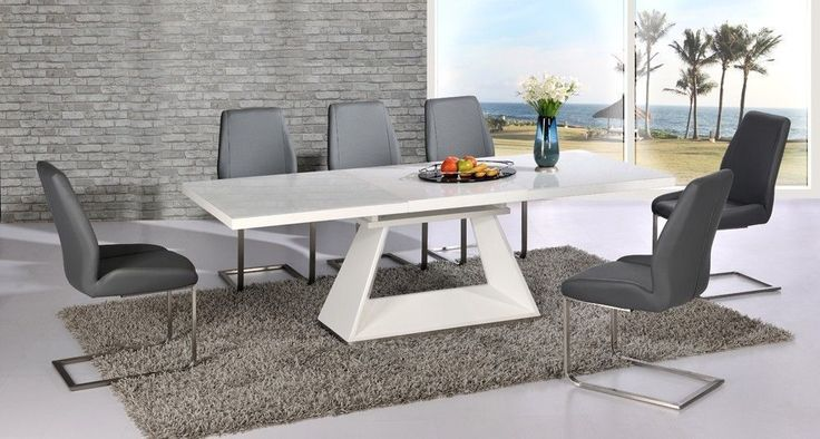 White high gloss extending dining table and 8 grey chairs set with glass top