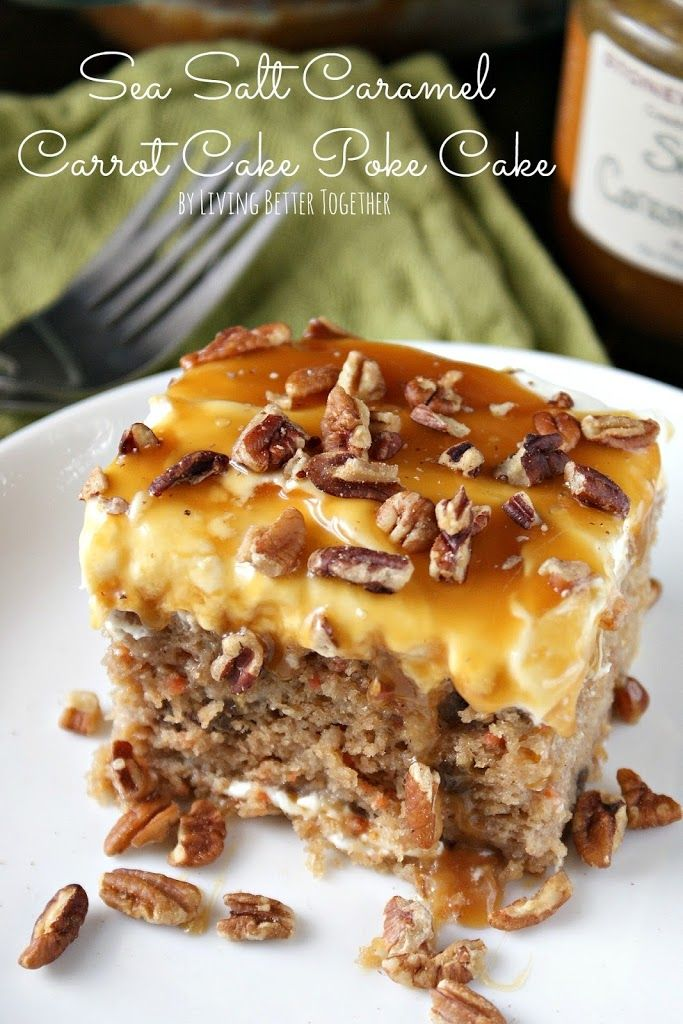 A delicious and sweet Carrot Cake Poke Cake finished off with Stonewall Kitchen's Sea Salt Caramel Sauce.