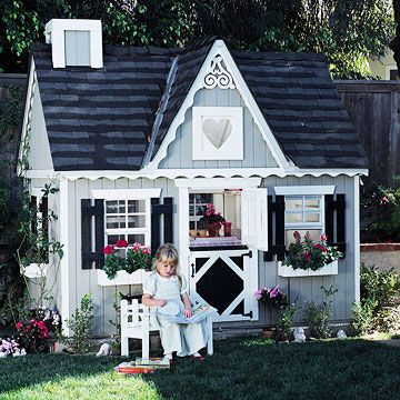 Fairy-Tale Retreat. Lacy trim, a miniature Dutch door, and a pseudo chimney and shutters supply plenty of kid-friendly charm. To help small structures fit into their surroundings, outfit playhouses with colors and details drawn from nearby buildings.