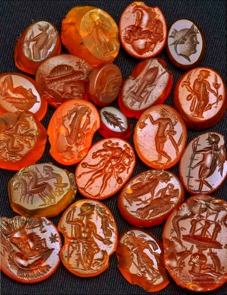 Beautiful Roman gemstone cameos, carved probably of carnelian semi-precious stone with engraved portraits and representations of Roman deities, 2nd-3rd century AD, found in ancient Singidunum, present-day Belgrade, capital of Serbia. Collection of Belgrade City Museum.