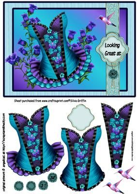 Blue Fancy Corset with Flowers SBS on Craftsuprint - Add To Basket!