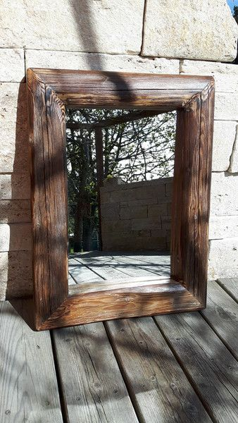 Vintage Spiegel - Wandspiegel Holz Altholz Spiegel alte Balken   - ein Designerstück von adlhoch-schmuck-creation bei DaWanda