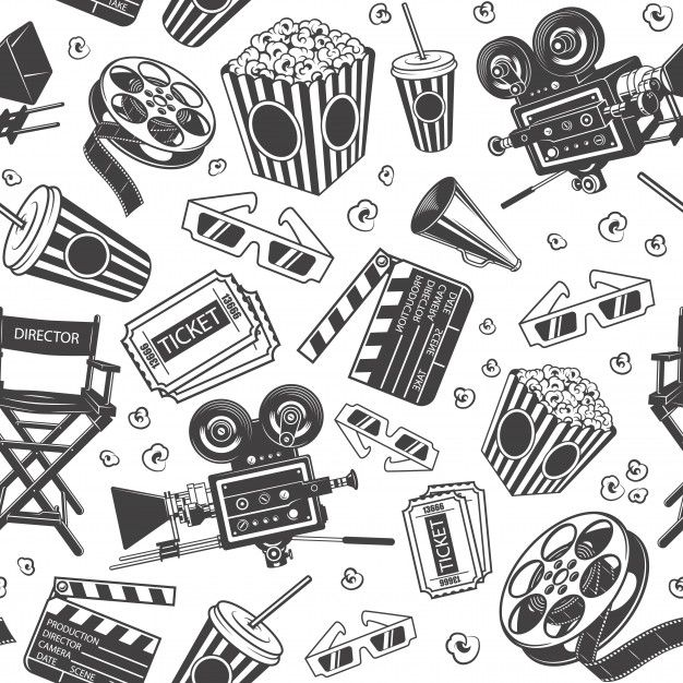 Seamless pattern with cinema elements  Free Vector #Freepik