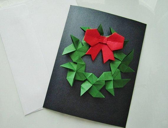 Cartoline di Natale - ❤-Origami (Set di 2 carte e buste) - ❤-    ❖ Colore: rosso metallizzato e verde  ❖ Materiale: tagliati a mano carta fine, colla, nastro delloro e amore  ❖ Le carte sono vuote allinterno per poter scrivere un messaggio e venire con buste bianche.  Misure circa ❖: Carte (A2) 4,25 cm x 5,5 cm (10.79 cm x 13,97 cm) Buste (A2) 4,375 x 5,75 cm (11,11 cm x 14,6 cm)  ❖ Made in una casa libera fumo  ❖ Pronto per la spedizione con cura (beni di carta delicata)  ❖ Sentitevi liberi…