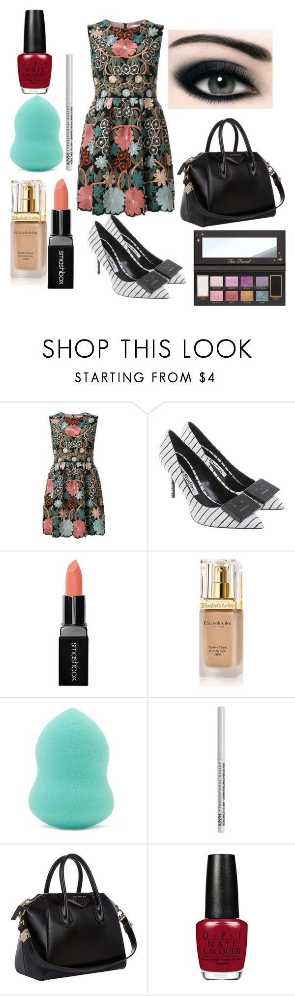 """""""Makeup Face"""" by rabiaheart on Polyvore featuring RED Valentino, Acne Studios, Smashbox, Elizabeth Arden, Forever 21, NYX and Givenchy"""