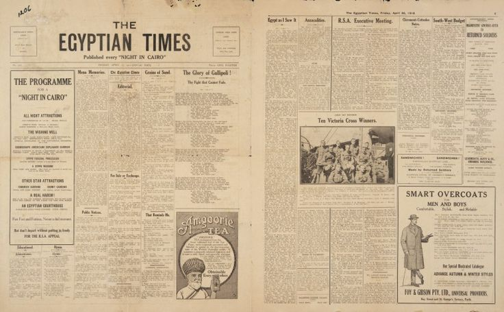 The Egyptian Times and The Australian published on 25 April 1919. http://encore.slwa.wa.gov.au/iii/encore/record/C__Rb2154641__SThe%20Egyptian%20Times%20and%20The%20Australian__Orightresult__U__X6?lang=eng&suite=def#attachedMediaSection