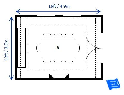 12ft X 16ft Dining Room Layout For 8 With A Rectangular Table The