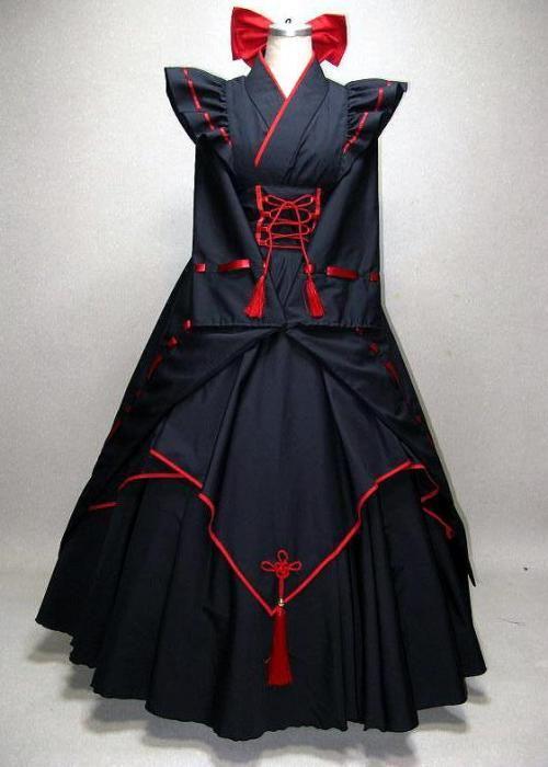 黒巫女 メイド 振り袖ロング - 彩~aya~
