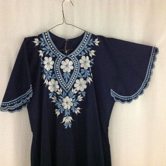 Vintage Maxi Boho Dress Embroidered Cotton Caftan Navy Beach