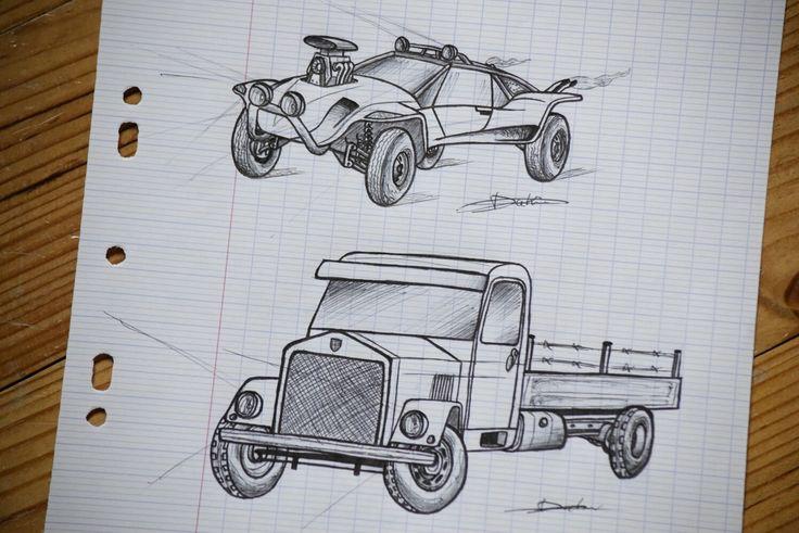 """Petits tests :  En haut -> Un """"Buggy"""" surpuissant, très léger avec un style Américain (pare-buffle, capot troué qui laisse apparaître le moteur, double sortie d'échappements...) et doté d'amortisseurs renforcés  En bas -> Camion des années 40 (pas de marque définie)"""