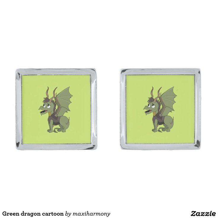 Green dragon cartoon silver finish cuff links