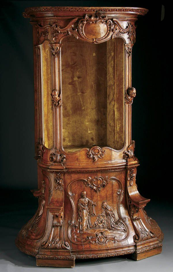 685: ITALIAN RENAISSANCE REVIVAL CARVED WALNUT SHRINE : Lot 685