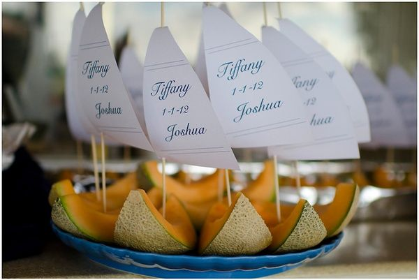 Nautical wedding reception food - DIY melon sail boats made of skewers, card stock, and cantaloupe