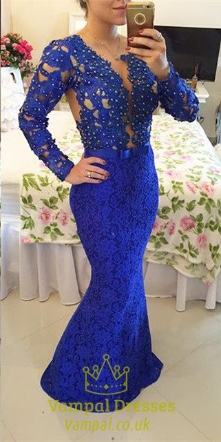 vampal.co.uk Offers High Quality Royal Blue Beaded Bodice Full Sleeve Backless…