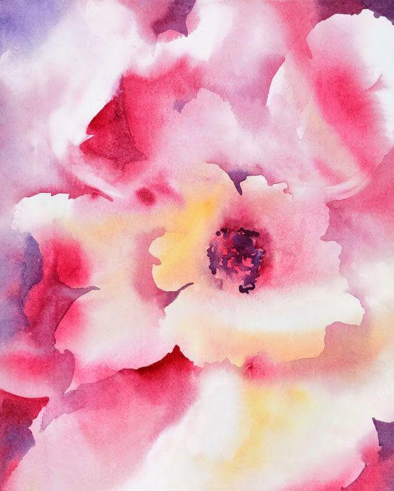 Modern Flower Watercolor Print Floral Watercolor Painting