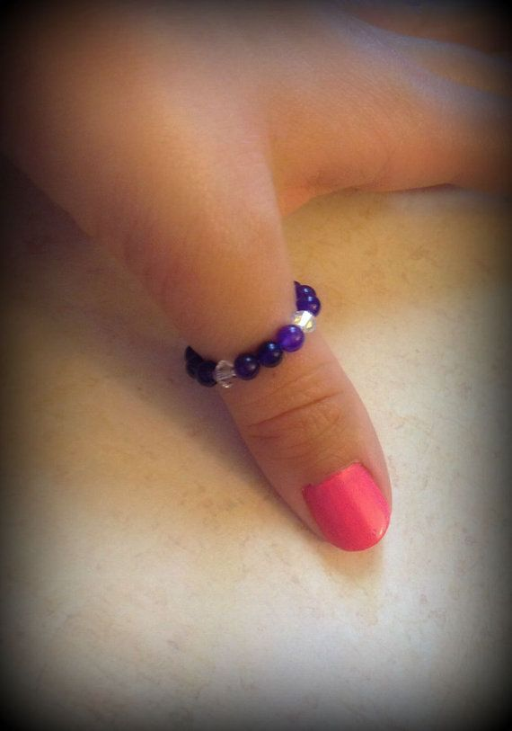 Amethyst Gemstone Beaded Stretch Thumb by LinSpirationalDesign