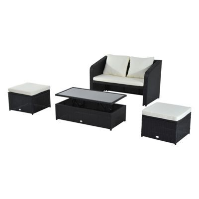 Buy Outsunny 4pc Garden Rattan Furniture Sofa Footstool Table W/ Lift Up  Top From Our