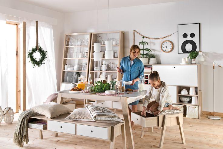 #stół #drewniany #jadalny  #design #jadalny #jadalnia #kuchenny #drewno #rozkładany #nowoczesny #skandynawski #biały #diy #wystrój  #pomysły #VOX #wnętrza  #duży #salon #kuchnia #biały #ława