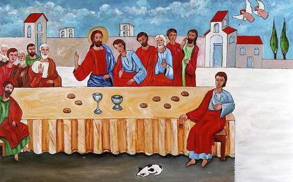 L'ultima cena con angeli - olio su tela (80x120 cm)