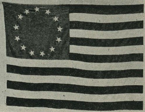 This is a picture of one of the first American flag that Betsy Ross first sewn.