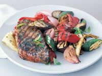 Basil and Oregano Steak with Char-Grilled Vegetables