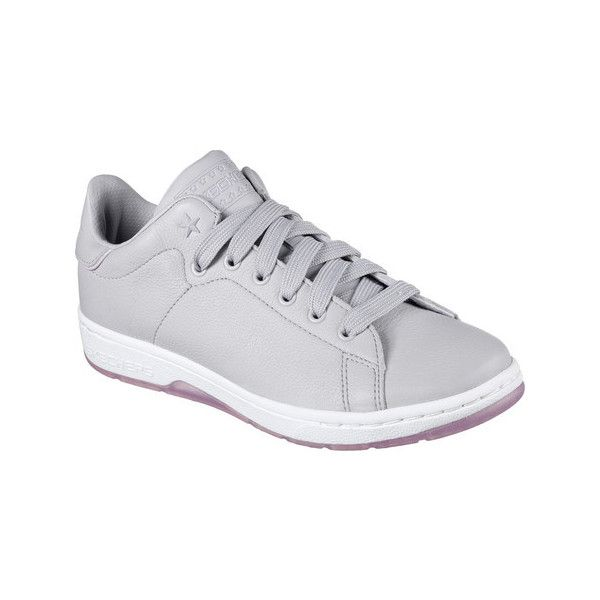 Women's Skechers Starlite Cool Kid Sneaker - Gray/Lavender Casual ($46) ❤ liked on Polyvore featuring shoes, sneakers, casual, vintage lace up shoes, grey shoes, skechers trainers, grey trainers and skechers sneakers