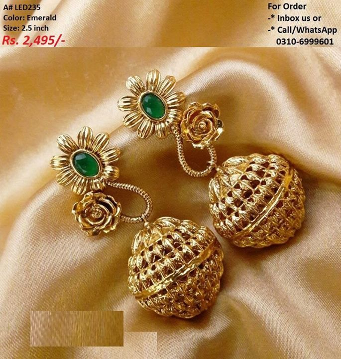 Imported High Quality Gold Plated Earrings   -* FREE shipping, Cash on Delivery -* Call/WhatsApp 0310-6999601 or Inbox us here https://facebook.com/messages/meemos.pk  #Indian #Pakistani #Ethnic #traditional #MEEMOS #JEwelry #Earrings #GoldPlated #Bridal #Lahore #JewelryShop #Tops #Studs Follow us on Instagram @just.fashionchic  July Super Sale Use code JULY15OFF for 15% off    #fashion #style #accessories #chokers #bracelets #necklace #earrings #justfashionaccessories