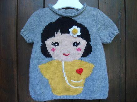Pull enfant de 2 ans à 6 ans motif fille 100% fait main  : Mode filles par souricette-creation