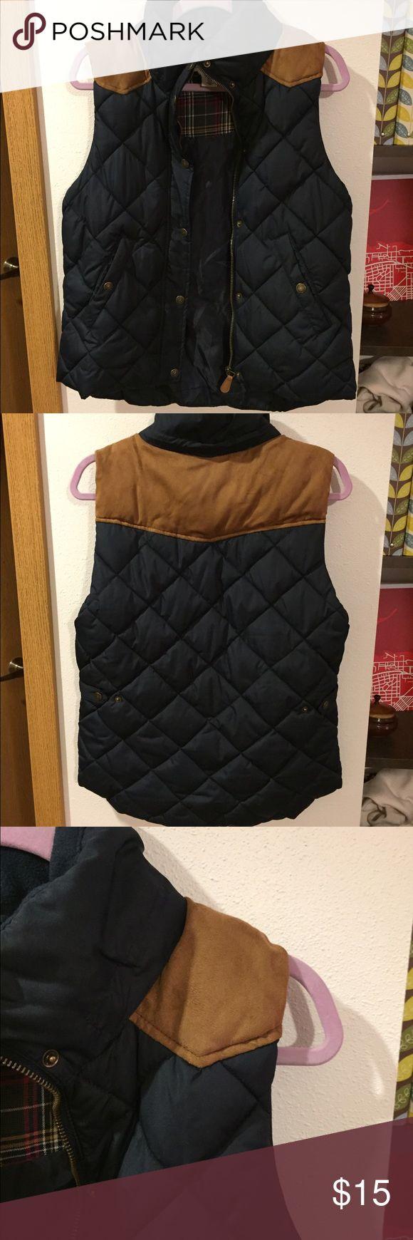 H&M vest Navy blue vest with leather patch detail H&M Jackets & Coats Vests