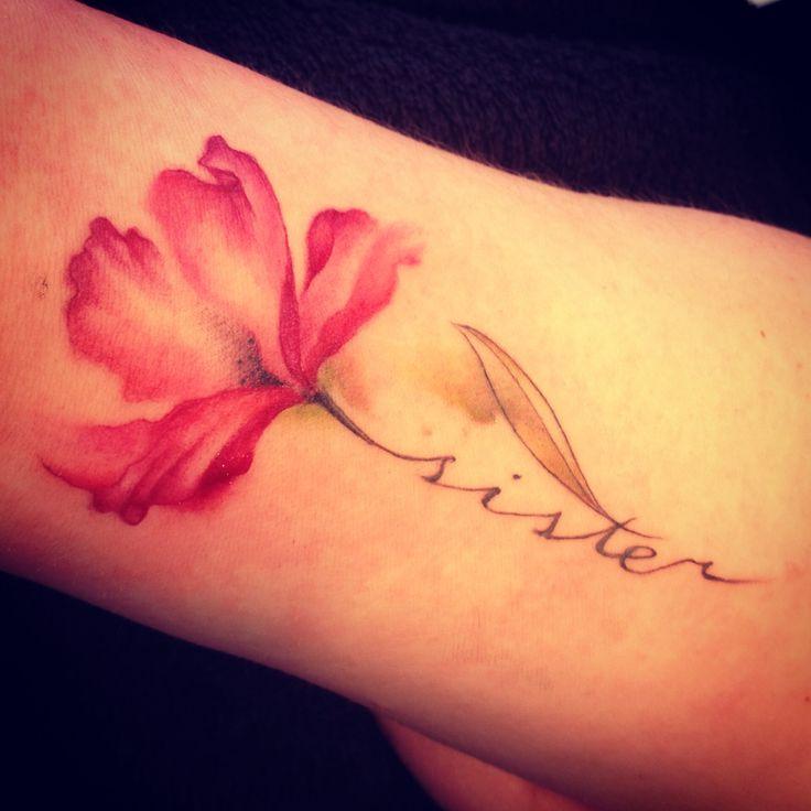 Samen met zus! #tattoo #flower #aquarel