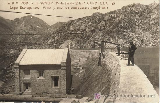 pobla de segur, trabajos de E.E.C. capdella, lago estangento y casa de compuertas, cabdella