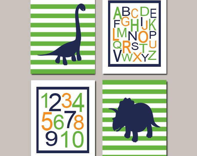 DINOSAUR Nursery Decor Dinosaur Nursery Art Boy Dinosaur Bedroom Dino Navy Nursery Alphabet Numbers Playroom Decor Set of 4 Prints Or Canvas