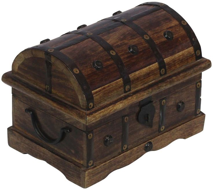 "Bulk Wholesale Handmade 9.5"" Mango-Wood Trunk-Shaped Jewelry Box / Keepsake Box in Dark-Brown Color Decorated with Iron Work and Traditional-Look Metal Lock – Vintage-Look Boxes from India"