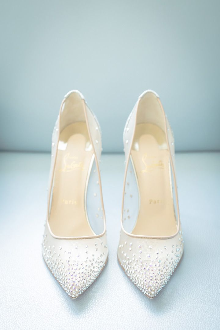 sparkly Christian Louboutin wedding shoes