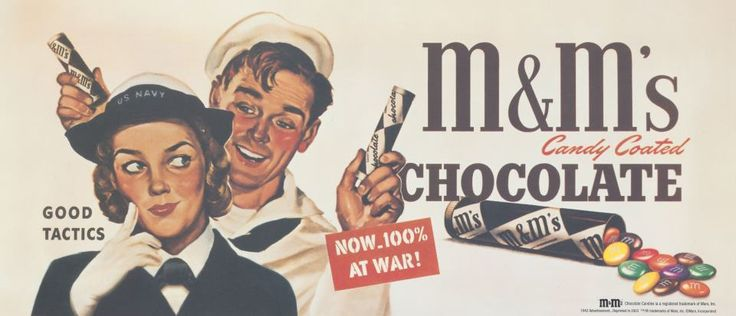 1941 M&M'S Chocolate Candies are introduced to American GIs serving in WWII