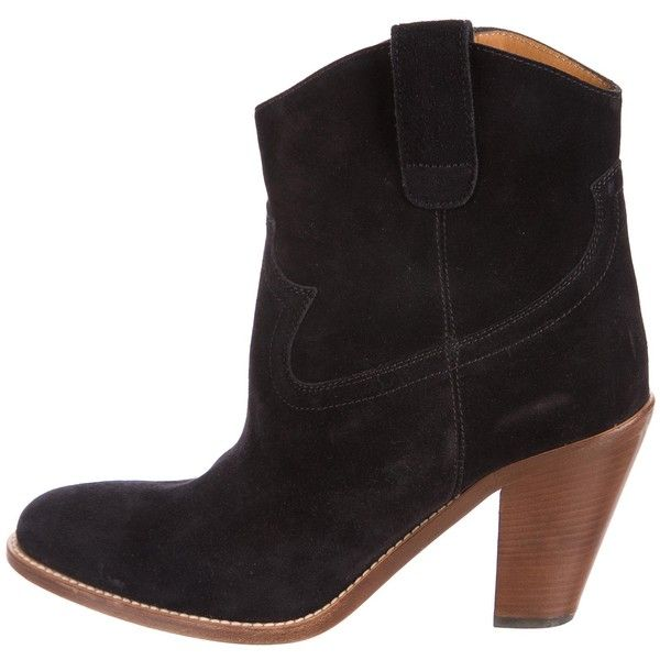 Pre-owned Saint Laurent Curtis Suede Ankle Boots ($395) ❤ liked on Polyvore featuring shoes, boots, ankle booties, black, black suede boots, short black boots, black suede ankle booties, black cowgirl boots and ankle cowboy boots