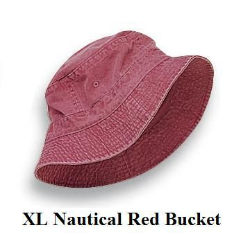 Nautical Red Bucket Hat  Women or Men XL Adams Cap by priceapparel, $12.95