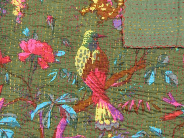 Bird of Paradise Kantha Quilt: Olive