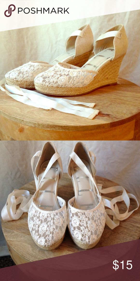 Lacey Espadrilles Earthy delicate low heeled lacey espadrilles with woven details. Ivory color. Worn once to a wedding. Elle Shoes Espadrilles