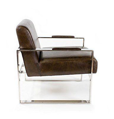 Echtleder Vintage Edelstahl Sessel Ledersessel Braun Design Lounge  Clubsessel Sofa Möbel NEU 445
