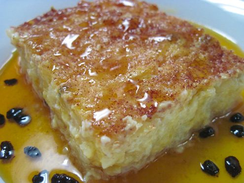 Baked rice pudding with burnt caramel sauce