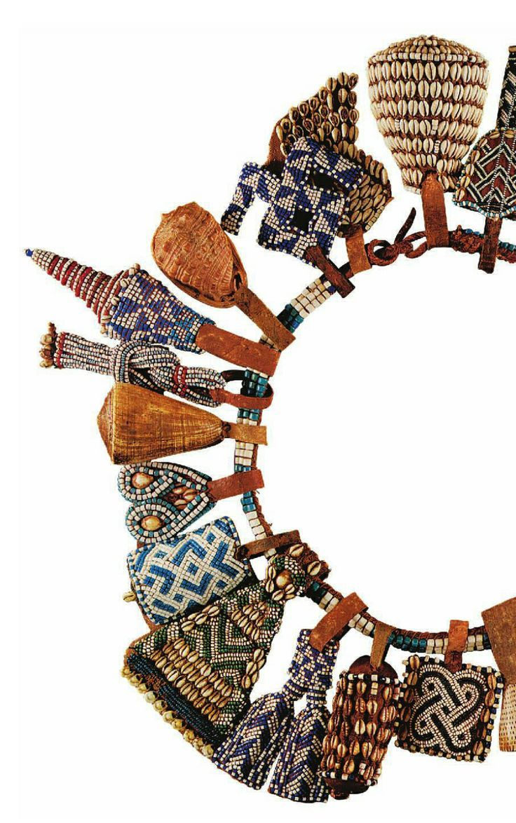 Africa | Details from a prestige belt from the Kuba people of DR Congo | Glass beads, shells and leather