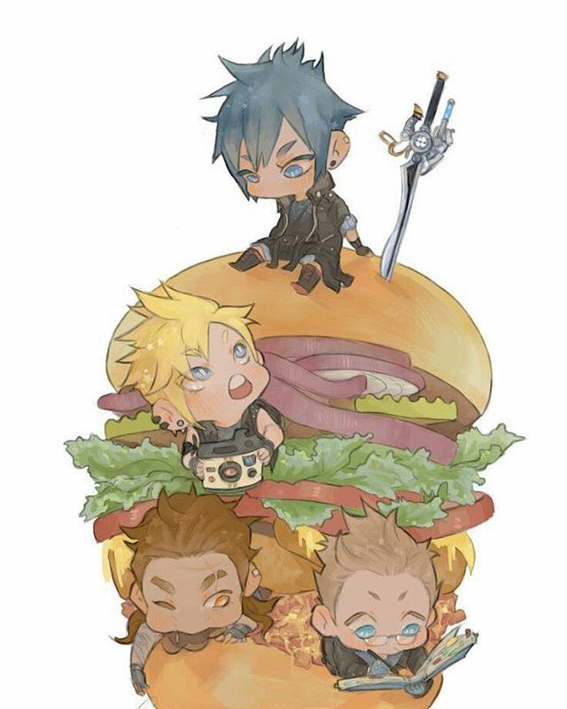 "328 Likes, 2 Comments - Final Fantasy XV (@final_fantasyxvpage) on Instagram: ""It's Burger tiiiime  #finalfantasy #ffxv #kingnoctis #noct #gladiolus #gladdy #prompto #ignis #iggy"""
