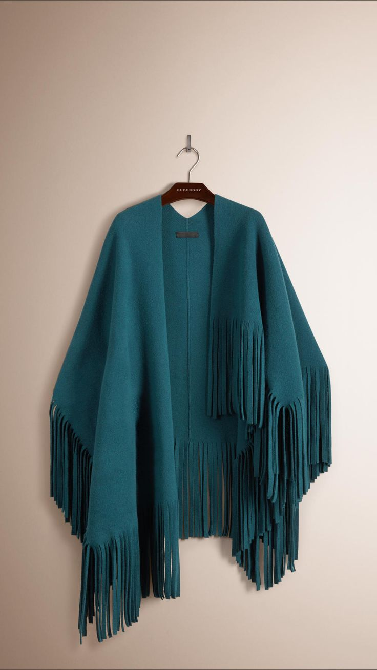 Fringed Felted Wool Cashmere Poncho Sea Blue | Burberry