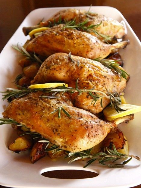 Rosemary Roasted Chicken:  This one-pan supper is delicious served simply with a fruit or vegetable salad alongside.