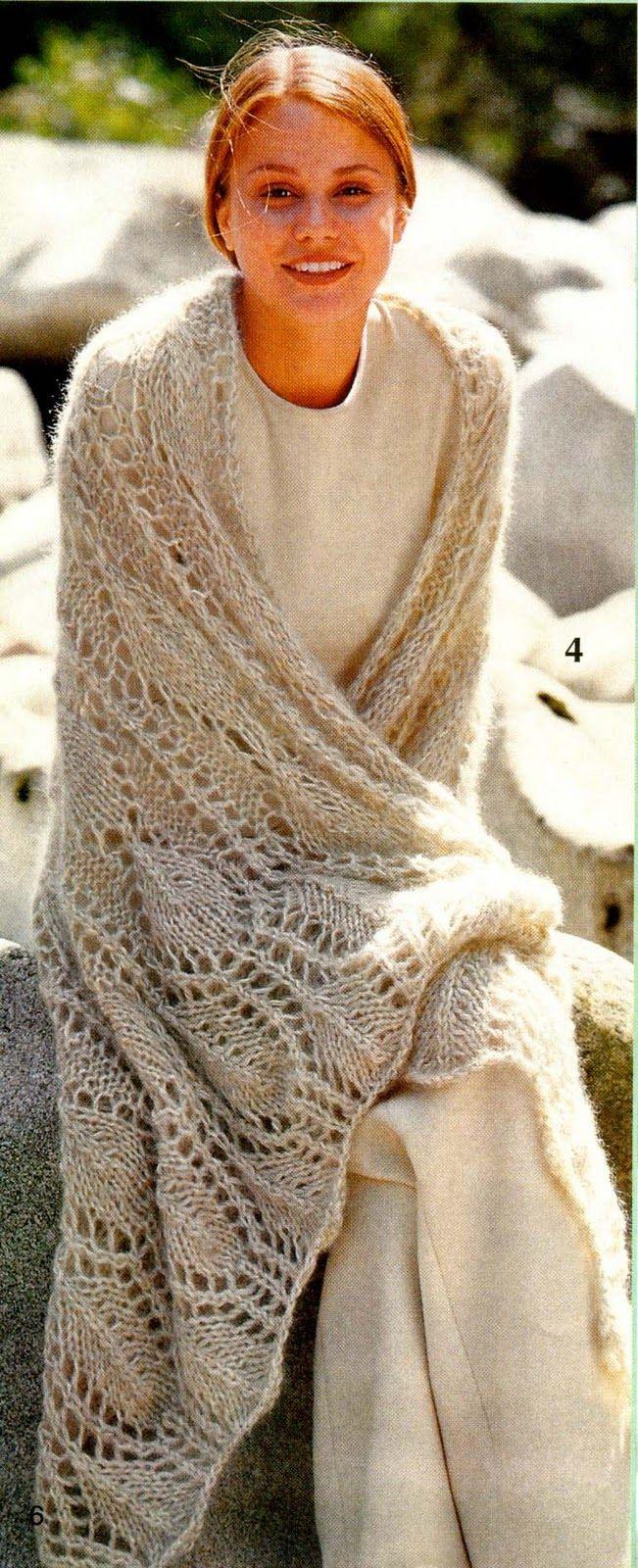 Палантин вязаный спицами. Free knitting charts