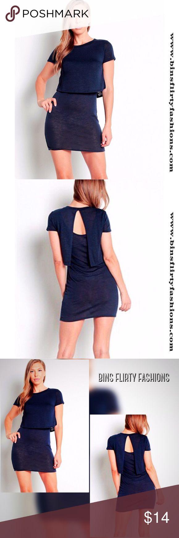 Navy Mini Dress Navy Semi-Sheer Mini Dress. 85% Polyester 11% Rayon 4% Spandex hug Dresses Mini