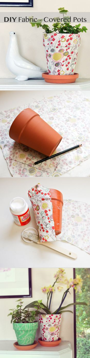 Fabric pots ***CANS INSTEAD OF POTS, TOO*** I think I may just do this today!