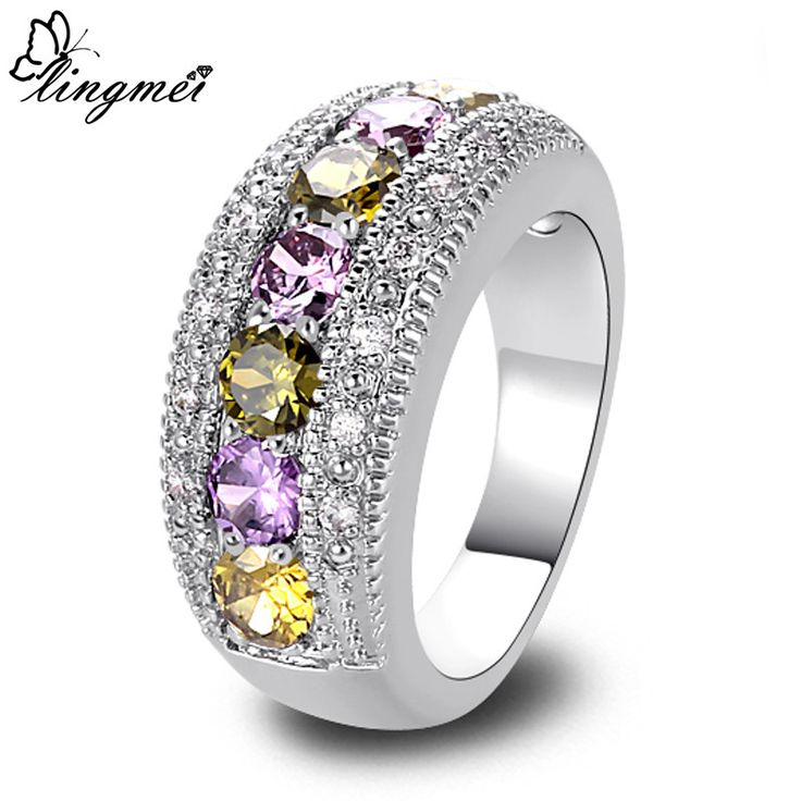 lingmei New Peridot Amethyst White CZ Silver Ring Size 6 7 8 9 10 11 12 13 Romantic Love Style Jewelry Women Rings Wholesale